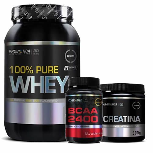 100% Pure Whey - 900g Morango + Creatina 300g + BCAA 60 Tabletes - Probiótica no Atacado