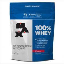 100% Whey - 900g Refil Morango - Max Titanium