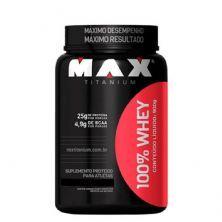 100% Whey Protein - 900g Morango - Max Titanium*** Data Venc. 26/02/2020