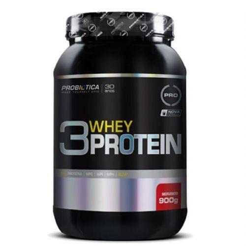 3 Whey Protein Nova formula - 900g Morango - Probiótica no Atacado