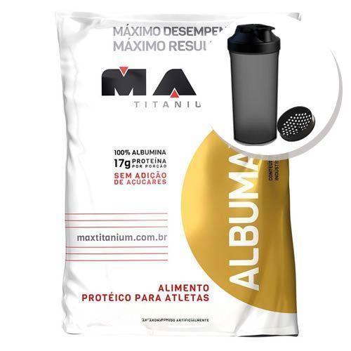 Albumax 100% - 500g Leite cond. + Coqueteleira 600ml Preta - Max Titanium
