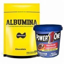 Albumina - 500g Refil Chocolate + Pasta de Amendoim Chocolate com Avelã - 1005g - Power One