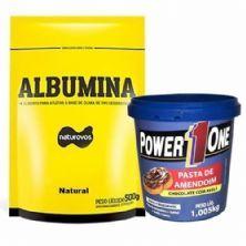 Albumina - 500g Refil Natural + Pasta de Amendoim Chocolate com Avelã - 1005g - Power One