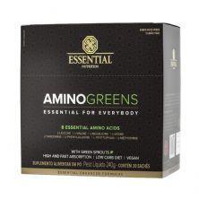 Amino Greens Vegan - 30 Sachês 8g Suco Verde e Limão Yuzu - Essential Nutrition