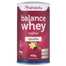 Balance Whey Mulher - 450g Baunilha - Sanavita*** PEQUENA AVARIA NA EMBALAGEM *** Data Venc. 31/01/2019