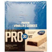 Barra de Proteína Trio Pro 30Vit - Sabor Baunilha e Cookeis c/ 24 barras de 33g - Trio Alimentos