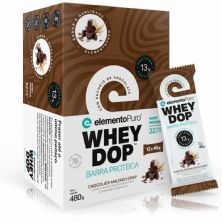 Barra Proteica WheyDop - 12 Unidades 40g Chocolate Maltado - ElementoPuro