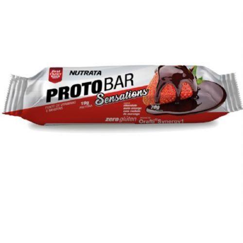 Barra Proto Bar - 1 Unidade de 70g Chocolate Meio Amargo com Recheio de Morango - Nutrata no Atacado