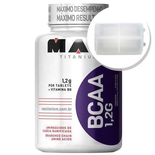 BCAA 1,2g c/ Vitamina B6 - 120 tabletes + Porta Cápsulas transparente - Max Titanium no Atacado