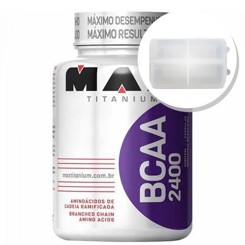 BCAA 2400 - 200 cápsulas + Porta Cápsulas transparente - Max Titanium