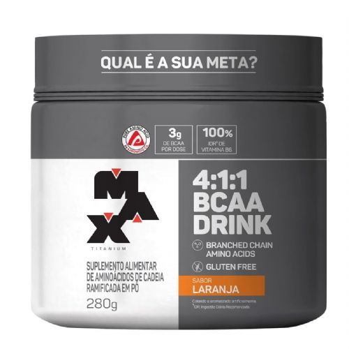BCAA 4:1:1 - 280g Drink Laranja - Max Titanium no Atacado