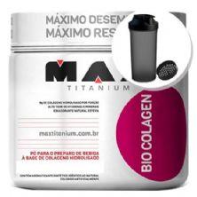 Bio Colagen - Sabor Frutas Vermelhas 300g + Coqueteleira 600ml Preta - Max Titanium