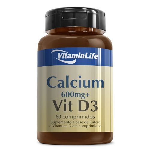 Calcium 600mg + VITD3 OTC - Cálcio Vitamina D3 60 comprimidos - VitaminLife