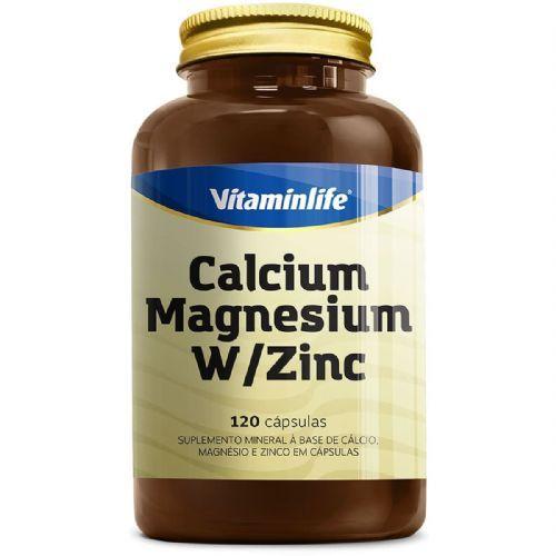 Calcium Magnesium W/Zinc - 120 Cápsulas - Vitaminlife no Atacado