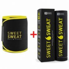 Cinta Abdominal Black & Amarelo + Sweet Sweat - 182g - Sports Research