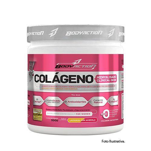 Colágeno Hidrolisado Clinical Skin - 300g Sabor Uva Rosada - BodyAction