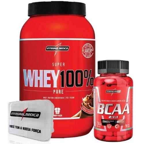 Combo 100% Whey Chocolate + Bcaa 2:1:1 + Porta Caps - Integralmédica