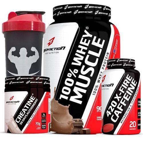 Combo - 100% Whey Muscle Chocolate 900g + X-FIRE 420 Cafeíina + Creatine - Body Action no Atacado
