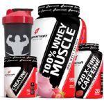 Combo - 100% Whey Muscle Morango 900g + X-FIRE 420 Cafeíina + Creatine - Body Action no Atacado