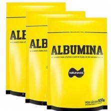 Combo - 3 Albumina Refil - 500g Morango - Naturovos