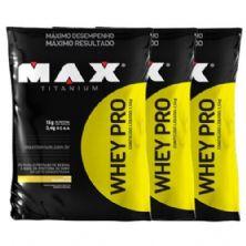 Combo 3 - Whey Pro - 1500g Refil Chocolate - Max Titanium