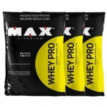 Combo 3 - Whey Pro - 1500g Refil Morango - Max Titanium
