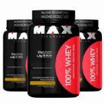 Combo  3X - 100% Whey Protein - 900g Baunilha - Max Titanium