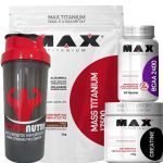 Combo Mass Titanium 3Kg Chocolate + Bcaa 100 Caps + Creatina 150g + Coque - Max Titanium no Atacado