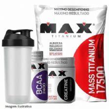 Combo Mass Titanium 3Kg Morango + Bcaa 100 Caps + Creatina 150g + Coque - Max Titanium