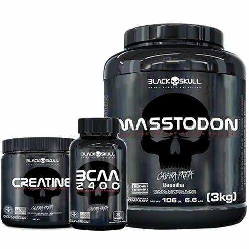 Combo - MassTodon 3000g Baunilha + Bcaa 30 Tablets + Creatine 150g - Black Skull no Atacado