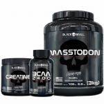 Combo - MassTodon 3000g Baunilha + Bcaa 30 Tablets + Creatine 150g - Black Skull