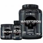 Combo - MassTodon 3000g Chocolate + Bcaa 30 Tablets + Creatine 150g - Black Skull