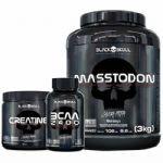 Combo - MassTodon 3000g Morango + Bcaa 30 Tablets + Creatine 150g - Black Skull