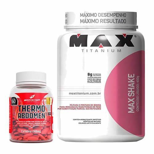 Combo - Max Shake 400g Morango + Thermo Abdomen 60 Tabletes - BodyAction no Atacado