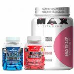 Combo Max Shake 400g Vitamina de Frutas + Thermo Abdomen + Night Abdomen - Bodyaction