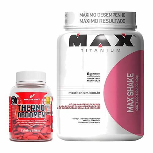 Combo - Max Shake 400g Vitaminas de Frutas + Thermo Abdomen 60 Tabletes - BodyAction no Atacado