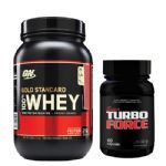 Combo Whey 100% Gold Standard - Morango 909g +Super Turbo Force - Optimum Nutrition