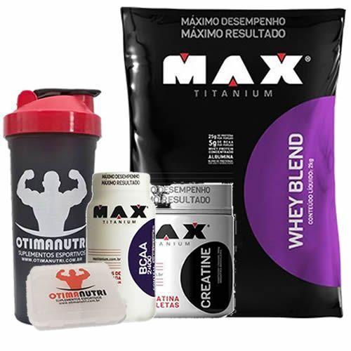 Combo - Whey Blend 2000g Chocolate + Creatina 150g + BCAA + Porta Caps + Coqueteleira - Max Titanium