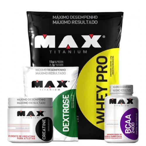 Combo Whey Pro + Bcaa + Creatina + Dextrose - Max Titanium