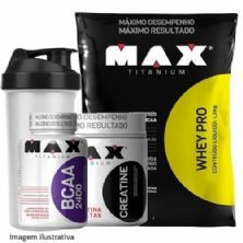 Combo - Whey Pro Chocolate + Bcaa 100 caps + Creatina 150g + Coque - Max Titanium