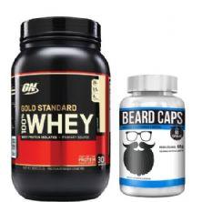 Combo Whey Protein 100% Gold Standard - Baunilha 909g - ON + Beard Caps - 60 Cápsulas - Intlab