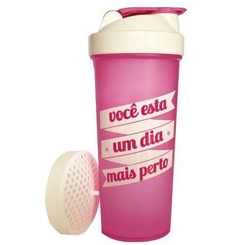 Coqueteleira Slim - 600ml Rosa/Fumê - OtimaNutri