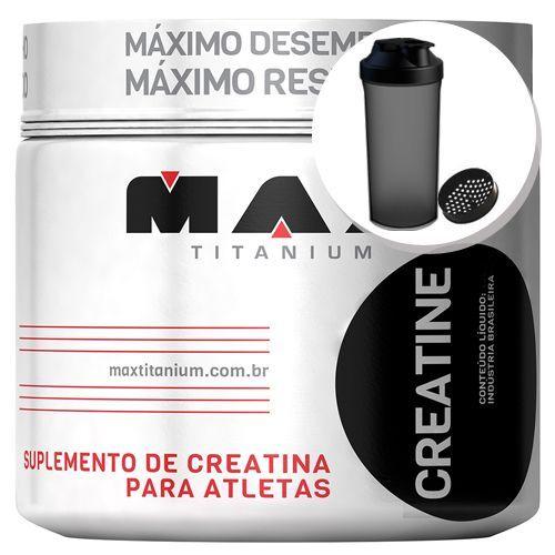 Creatina - 300g + Coqueteleira 600ml Preta - Max Titanium