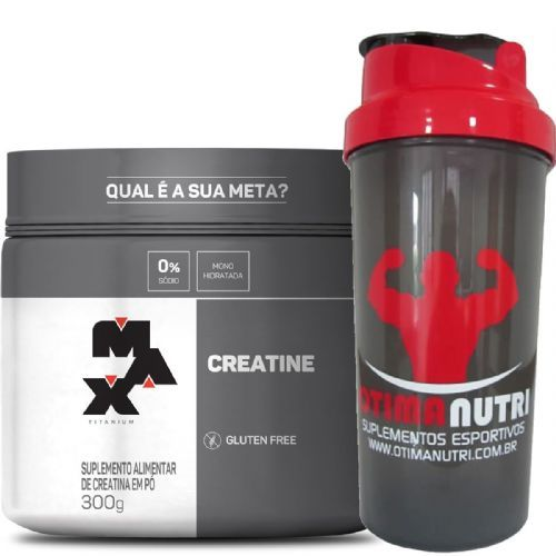 Creatina - 300g + Coqueteleira 600ml Preta - Max Titanium no Atacado