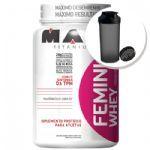 Femini Whey - 900g chocolate + Coqueteleira 600ml Preta - Max Titanium no Atacado