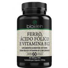 Ferro, Ácido Fólico e Vitamina B12 - 60 Cápsulas - Bioklein