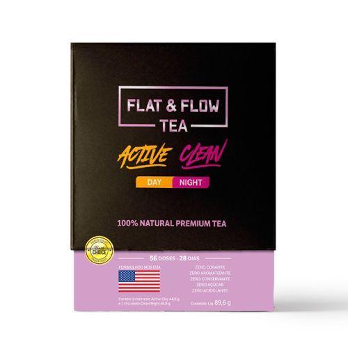 Flat & Flow Tea Active Day/Clean Night - 56 Doses - 28 Dias -  Naturelab