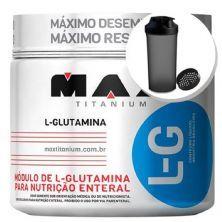 Glutamina L-G - 300g + Coqueteleira 600ml Preta - Max Titanium