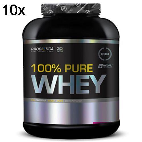 Kit 10X 100% Pure Whey - 2000g Chocolate - Probiotica no Atacado