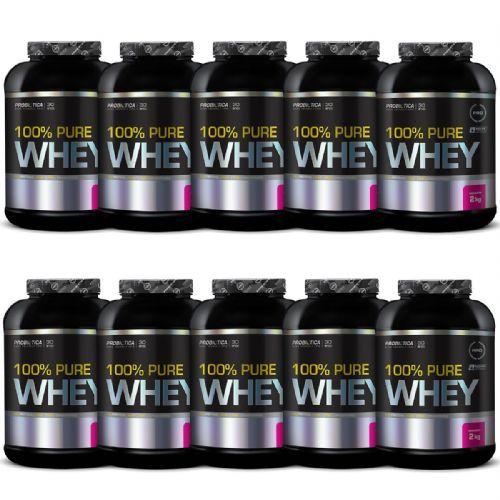 Kit 10X 100% Pure Whey - 2000g Morango - Probiótica no Atacado